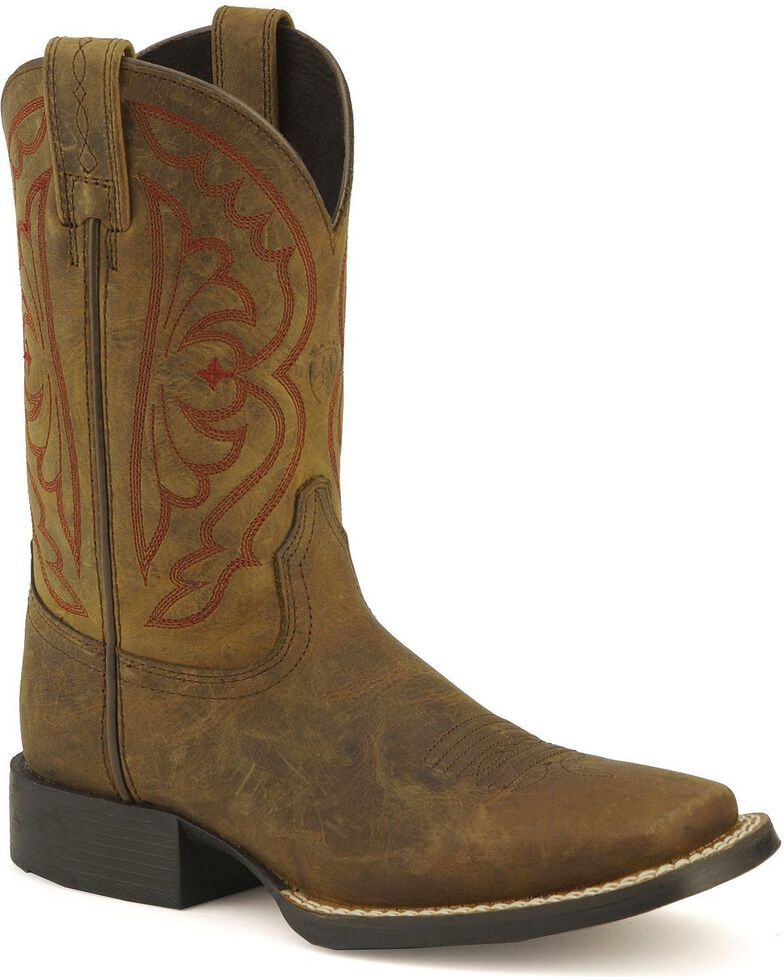 Ariat Youth Quickdraw Cowboy Boots - Square Toe, Distressed, hi-res