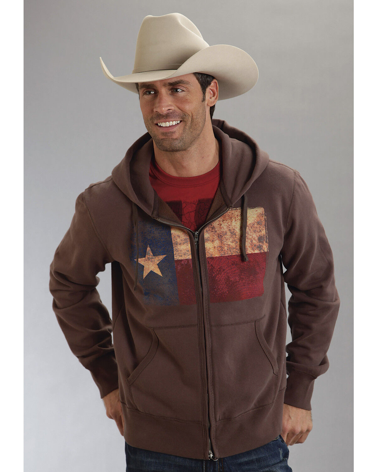 Roper Mens Americana Collection Zip Front Hoodie 03-097-0185-0118 Br