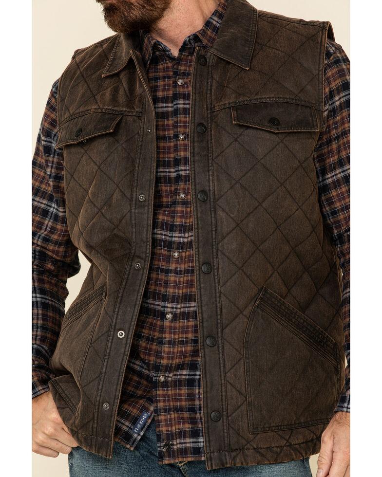 Moonshine Spirit Men's Calico Mines Quilted Oil Skin Vest , Brown, hi-res