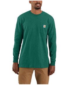 Carhartt Men's Heather Green Antler Logo Graphic Heavyweight Long Sleeve Work Pocket T-Shirt , Green, hi-res