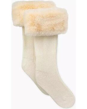UGG Women's Cream Faux Fur Tall Rain Boot Socks , Cream, hi-res