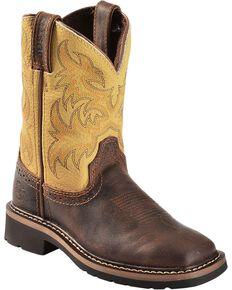 Justin Children's Stampede Work Boots - Square Toe, Brown, hi-res