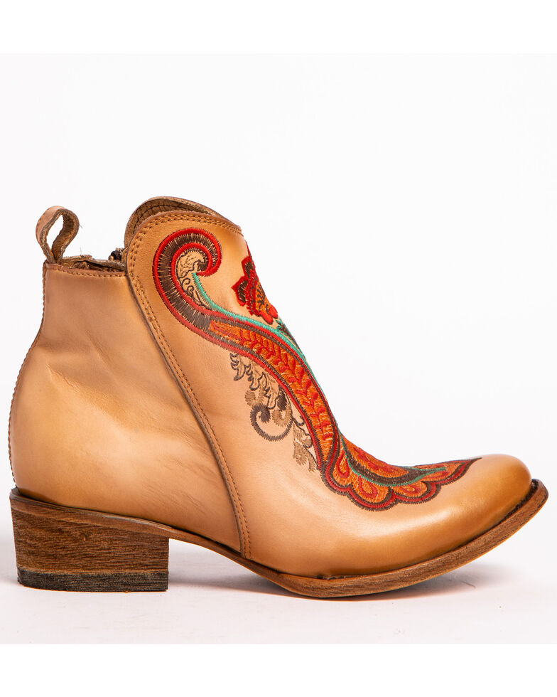 Corral Women's Natural Orange Embroidered Booties - Medium Toe, Natural, hi-res