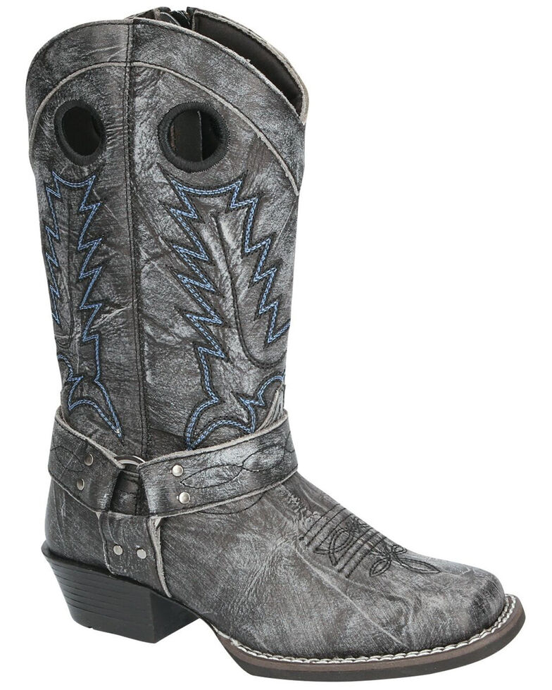 Smoky Mountain Girls' Redwood Western Boots - Square Toe, Black, hi-res