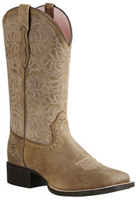 Ariat Women's Rich Brown Round Up Remuda Cowgirl Boots - Square Toe , Sand, hi-res