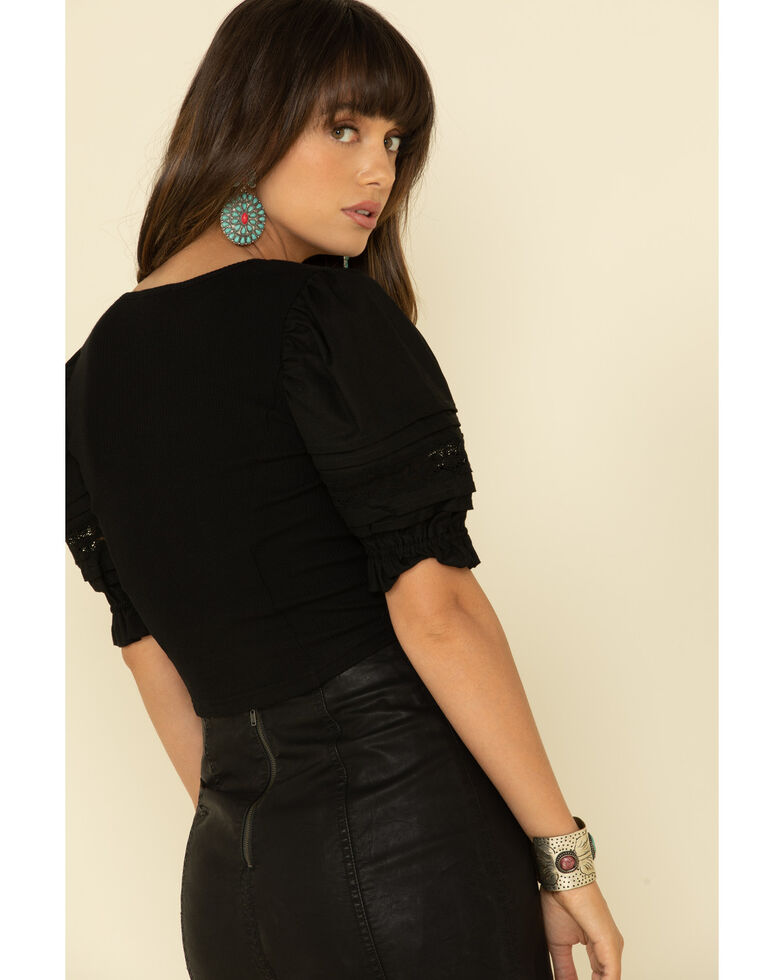 Very J Women's Embroidered Puff Sleeve Ribbed Top , Black, hi-res