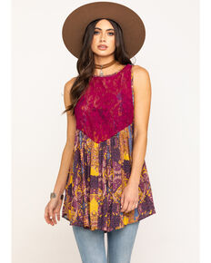 Free People Women's Count Me In Trapeze Tunic , Gold, hi-res