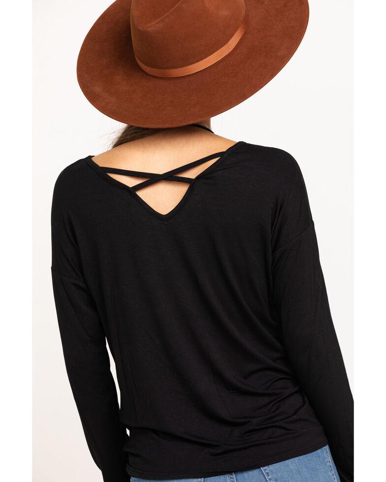 Wrangler Women's Black Tie-Up Long Sleeve Top, Black, hi-res
