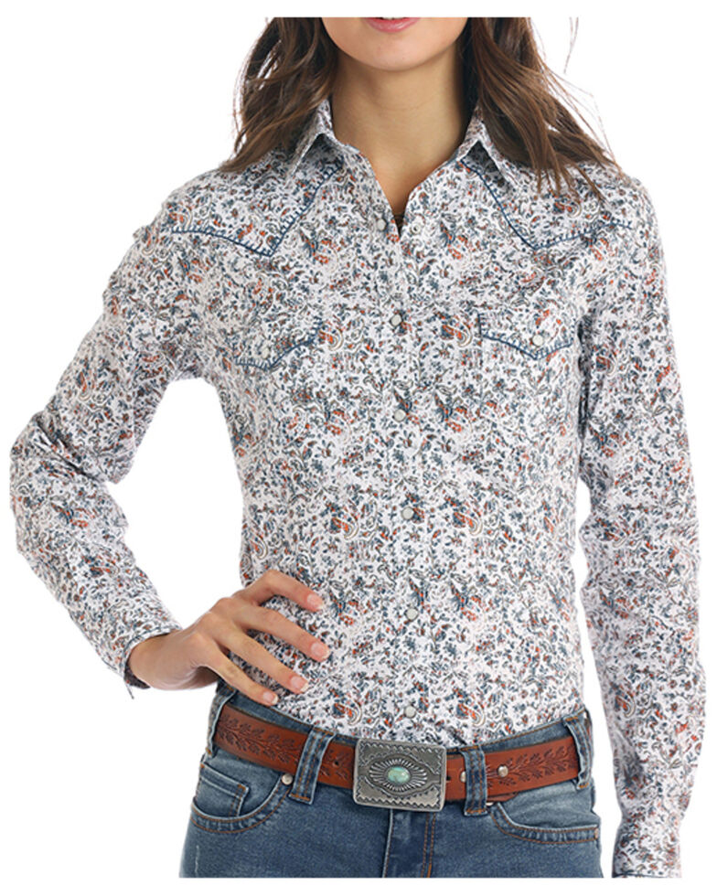 Rough Stock By Panhandle Women's White Floral Print Long Sleeve Western Shirt , White, hi-res