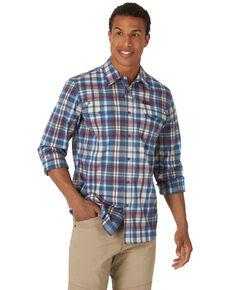 Wrangler All Terrain Men's Grey Plaid Pocket Utility Long Sleeve Western Flannel Shirt , Grey, hi-res
