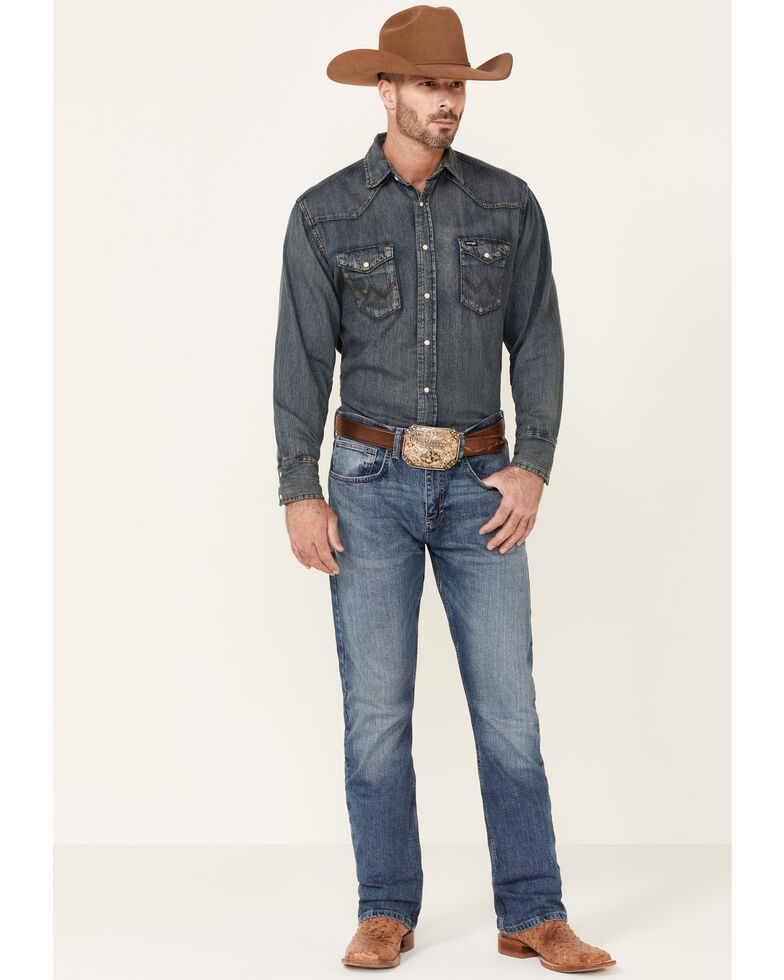 Wrangler 20X Men's Pickett Vintage Stretch Slim Bootcut Jeans - Long, Blue, hi-res