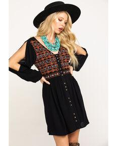 Shyanne Women's Black Embroidered Button Long Sleeve Dress, Black, hi-res