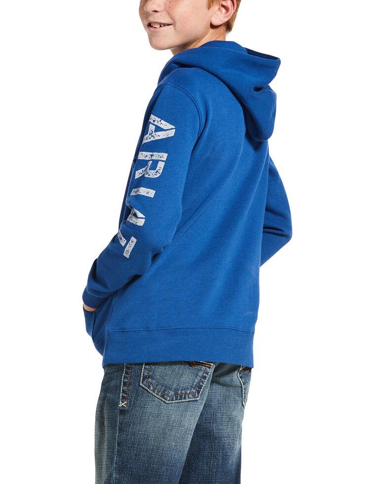 Ariat Boys' Cobalt Logo Graphic Hooded Sweatshirt , Blue, hi-res