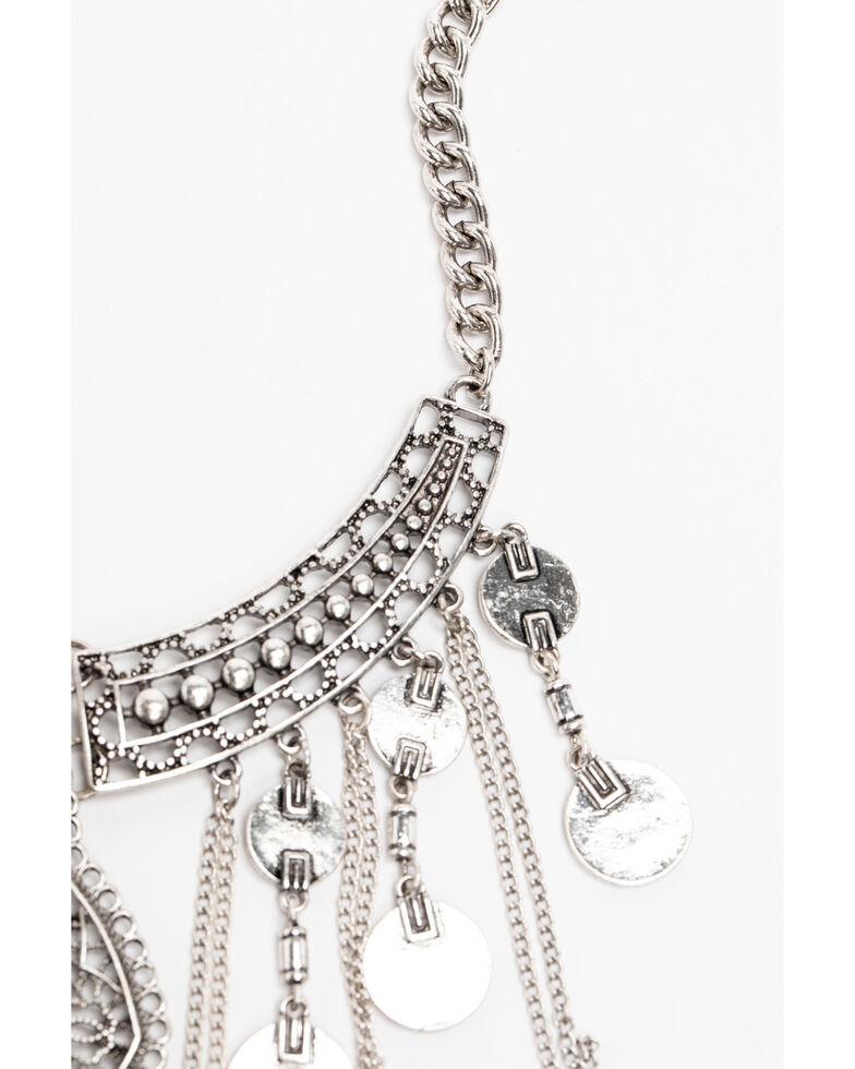 Shyanne Women's Hidden Treasure Coin Fringe Statement Necklace, Silver, hi-res
