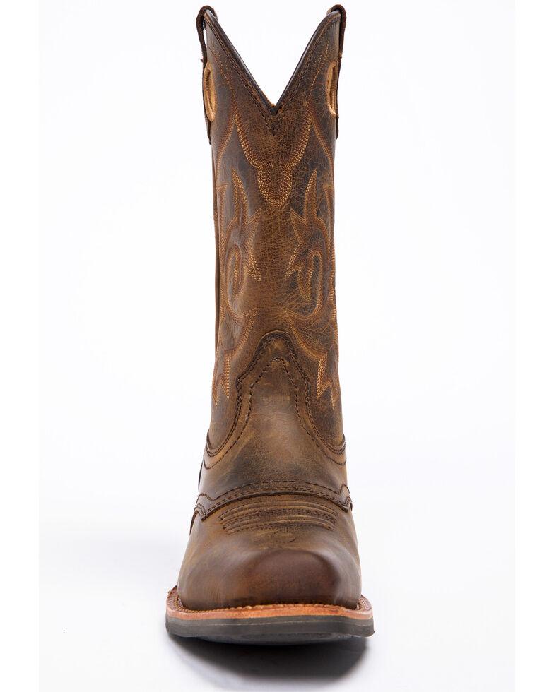 Cody James Men's West Stitch Western Work Boots - Square Toe, Dark Brown, hi-res