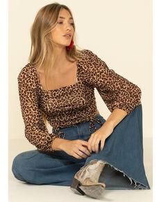 HYFVE Women's Leopard Print Gathered Cropped Peasant Top , Leopard, hi-res