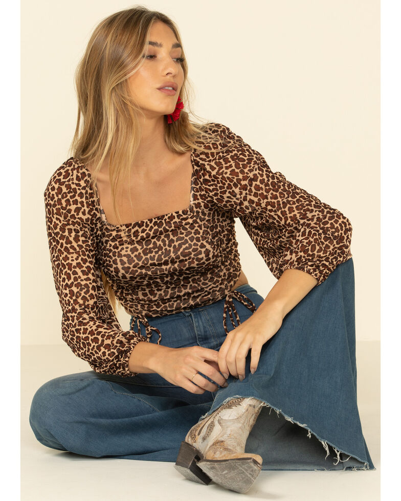 HYFVE Women's Leopard Print Gathered Cropped Peasant Top , Leopard, hi-res