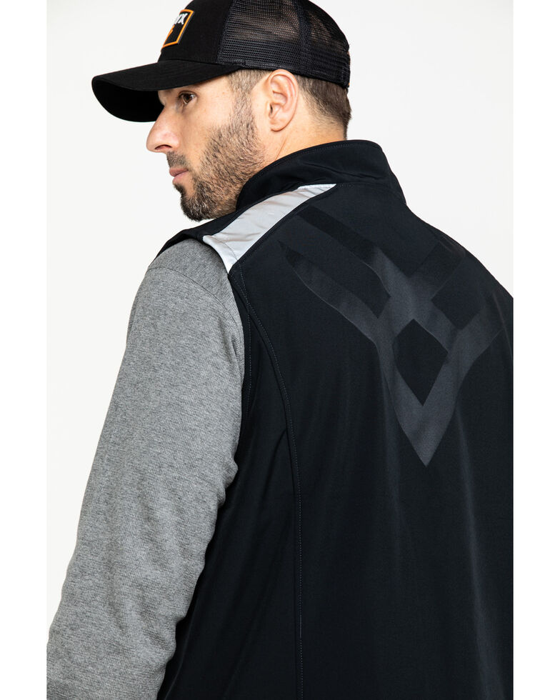 Hawx Men's Black Reflective Soft Shell Moto Work Vest - Tall , Black, hi-res