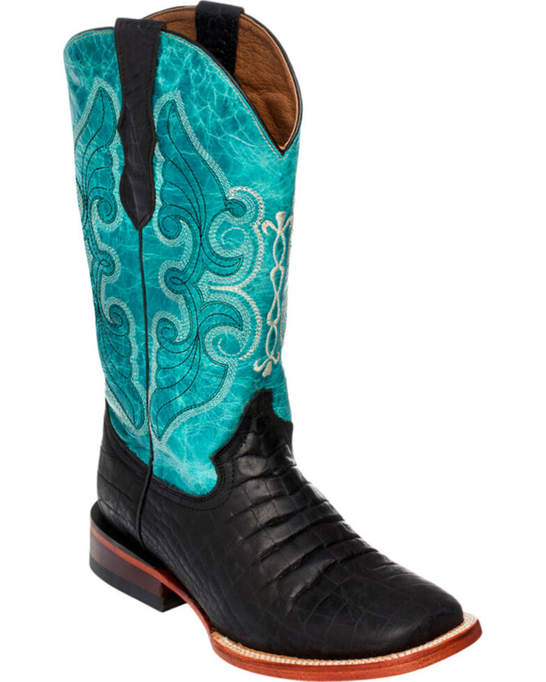 Ferrini Women's Black Belly Print Cowgirl Boots - Square Toe, Black, hi-res