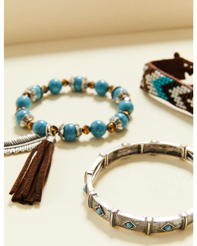 Shyanne Women's Summer Nights Turquoise Aztec Beaded Bracelet Set, Turquoise, hi-res