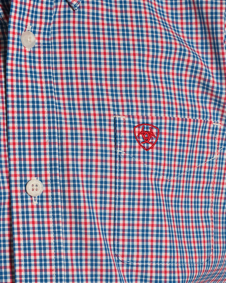 Ariat Boys' Lewisville Performance Fit Plaid Long Sleeve Button Down Shirt, , hi-res