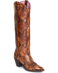 Miss Macie Women's Snakin' It Print Western Boots - Snip Toe , Multi, hi-res