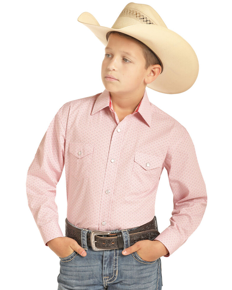 Panhandle Select Boys' Pink Poplin Geo Print Long Sleeve Western Shirt , Pink, hi-res