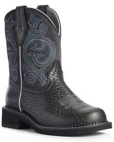 Ariat Women's Bison Heritage Western Boots - Round Toe, Black, hi-res