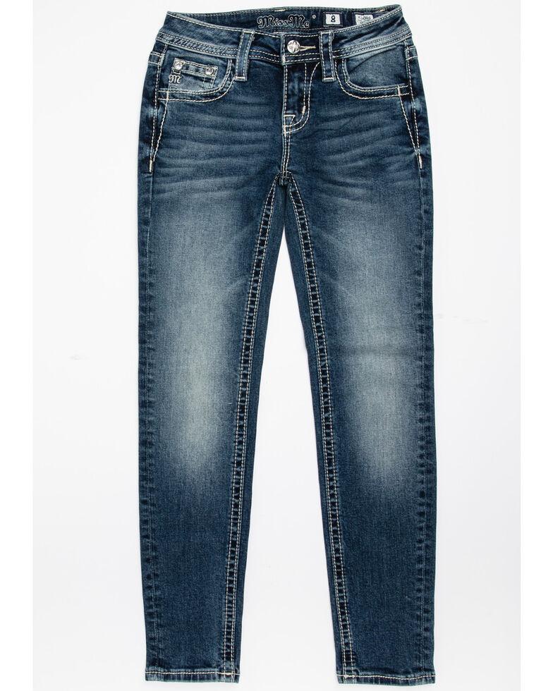 Miss Me Girls' Floral & Plaid Embroidered Skinny Jeans, Blue, hi-res
