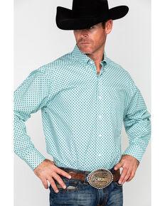 Tuf Cooper Men's Competition Stretch White Poplin Print Long Sleeve Western Shirt , White, hi-res