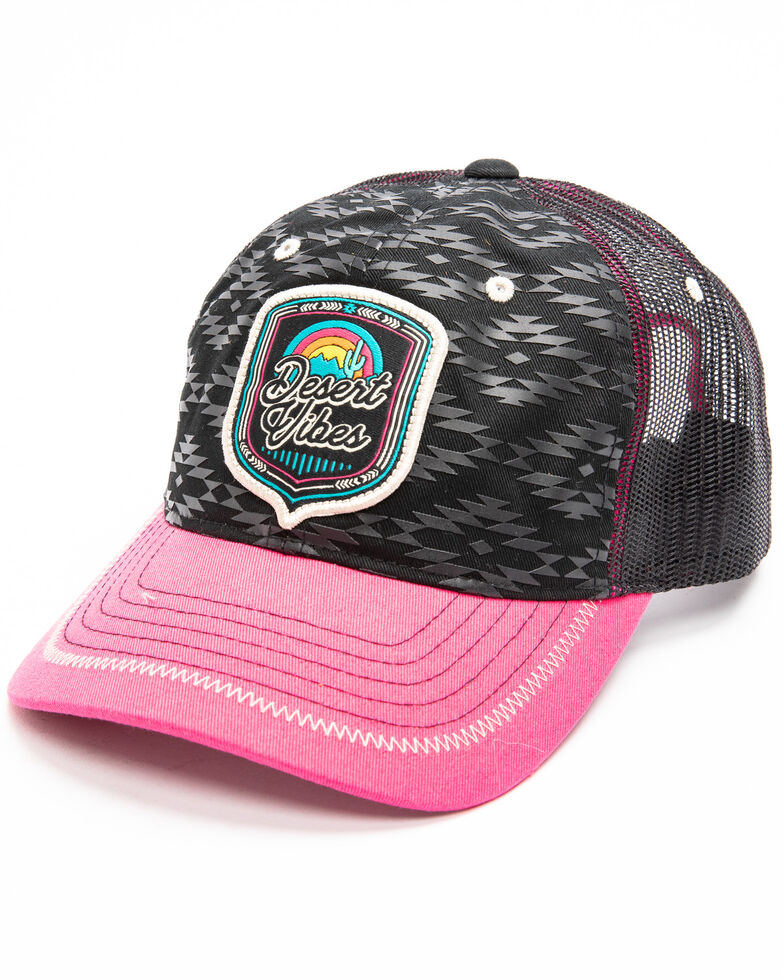 Rock & Roll Cowboy Men's Desert Vibes Logo Aztec Cap , Black, hi-res