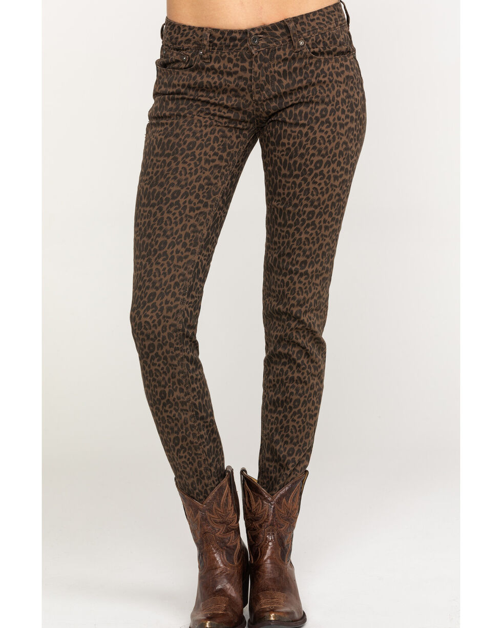 Grace in LA Women's Leopard Skinny Jeans, Tan, hi-res