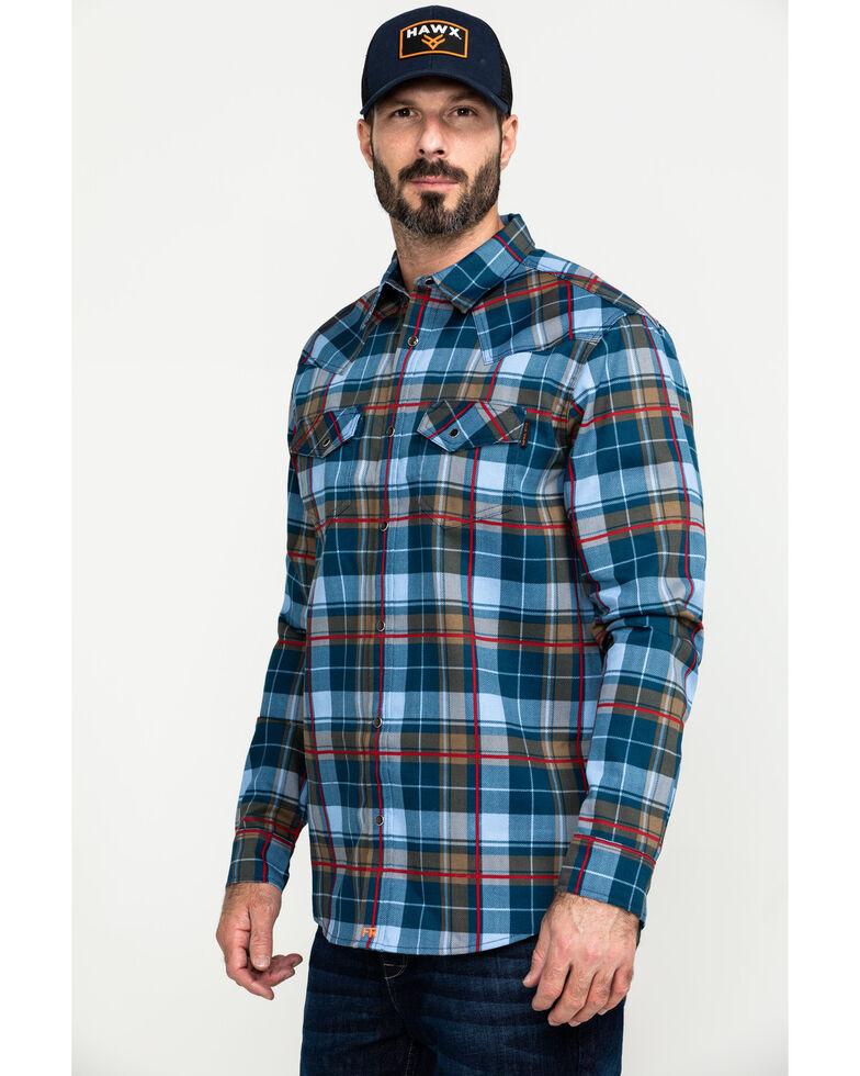 Cody James Men's FR Geo Print Long Sleeve Work Shirt - Tall, Light Blue, hi-res