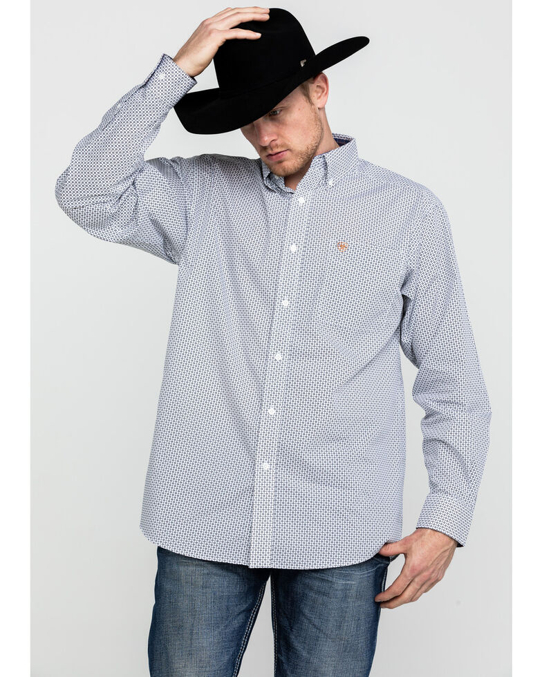 Ariat Men's Wrinkle Free Vaness Print Long Sleeve Western Shirt - Tall, White, hi-res