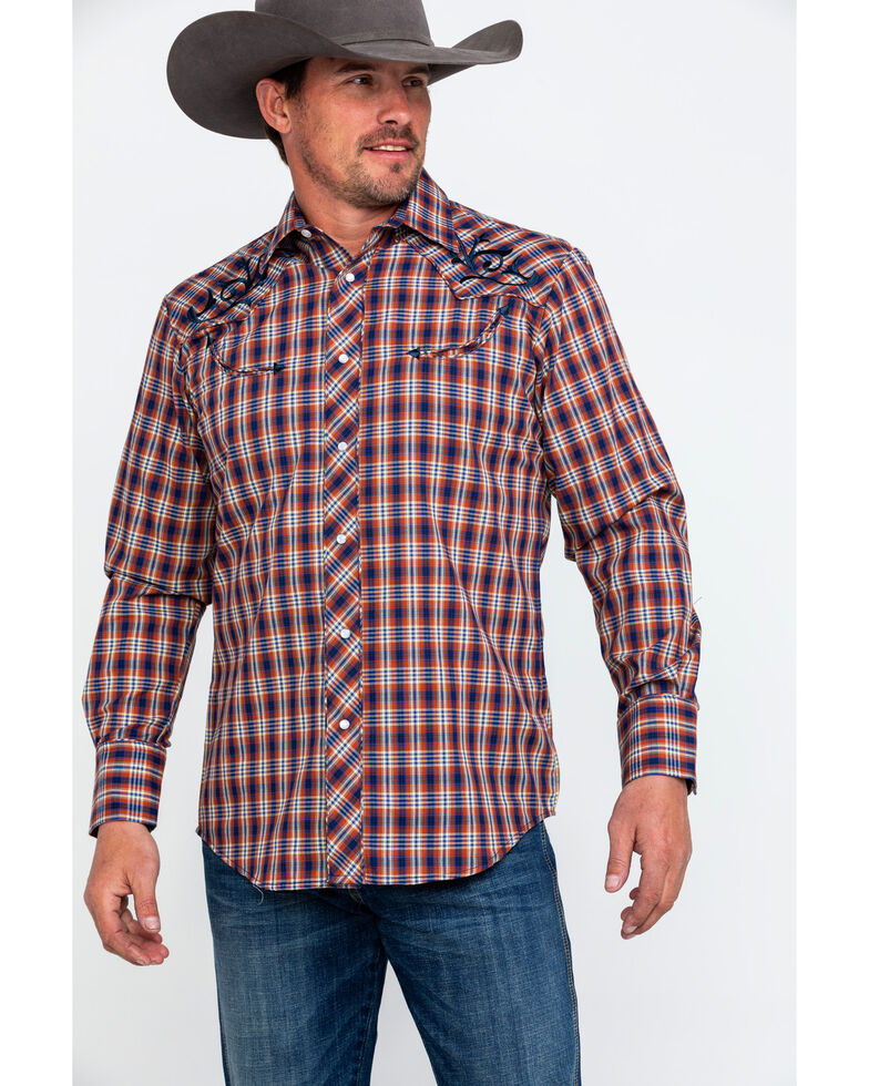 Roper Men's Fancy Small Plaid Embroidered Long Sleeve Western Shirt  , Brown, hi-res