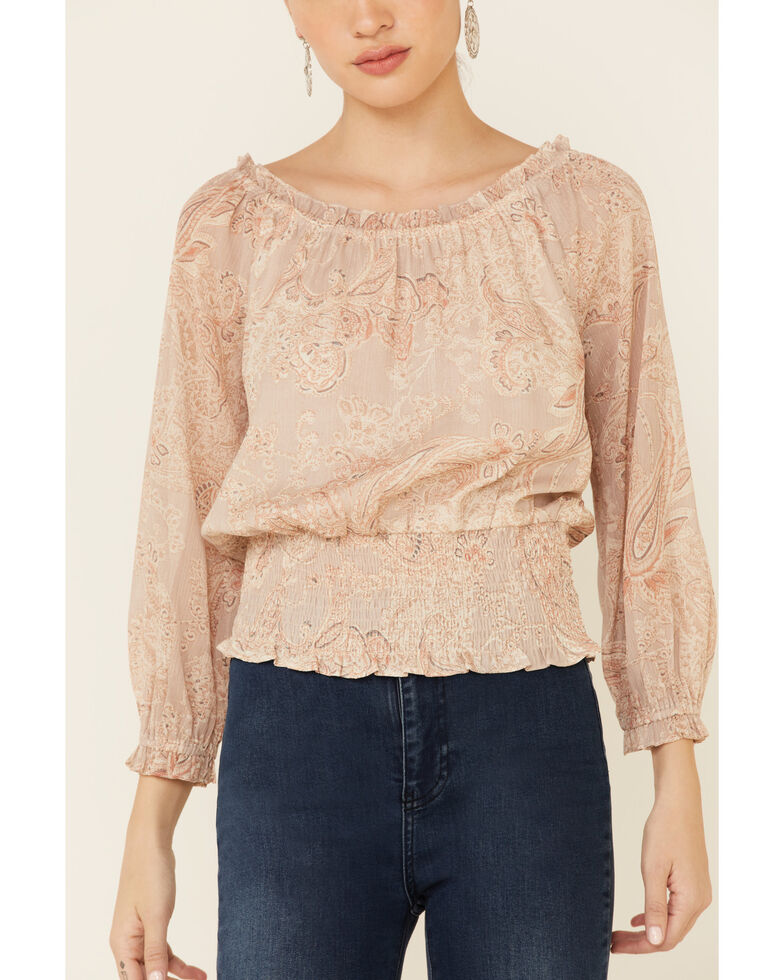 Mystree Women's Taupe Floral Paisley Print 3/4 Sleeve SmockedTop , Taupe, hi-res