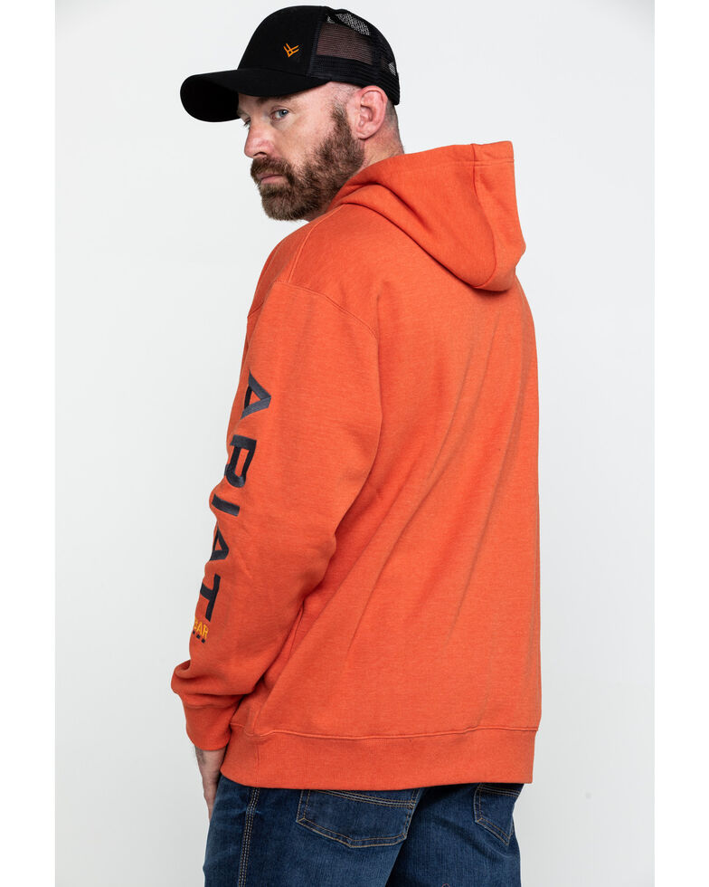Ariat Men's Volcanic Heather Rebar Graphic Hooded Work Sweatshirt - Big & Tall , Heather Orange, hi-res