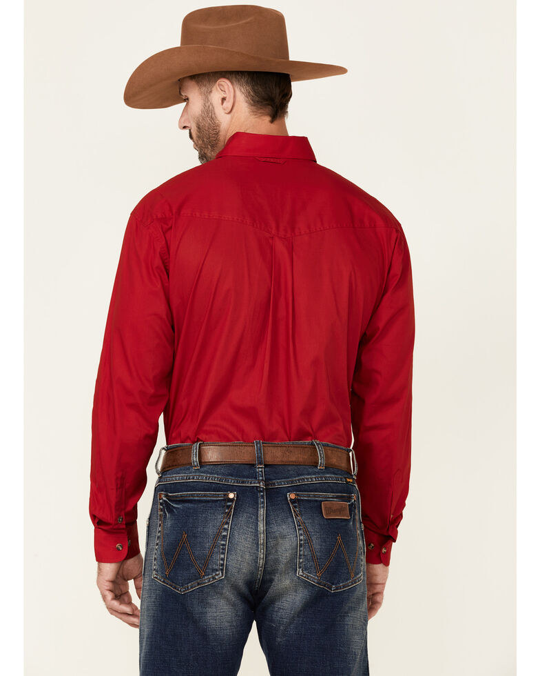 Roper Men's Solid Amarillo Collection Long Sleeve Western Shirt, Red, hi-res