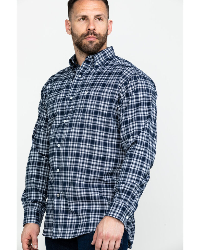 Ariat Men's Abney Stretch Plaid Long Sleeve Western Shirt , Navy, hi-res
