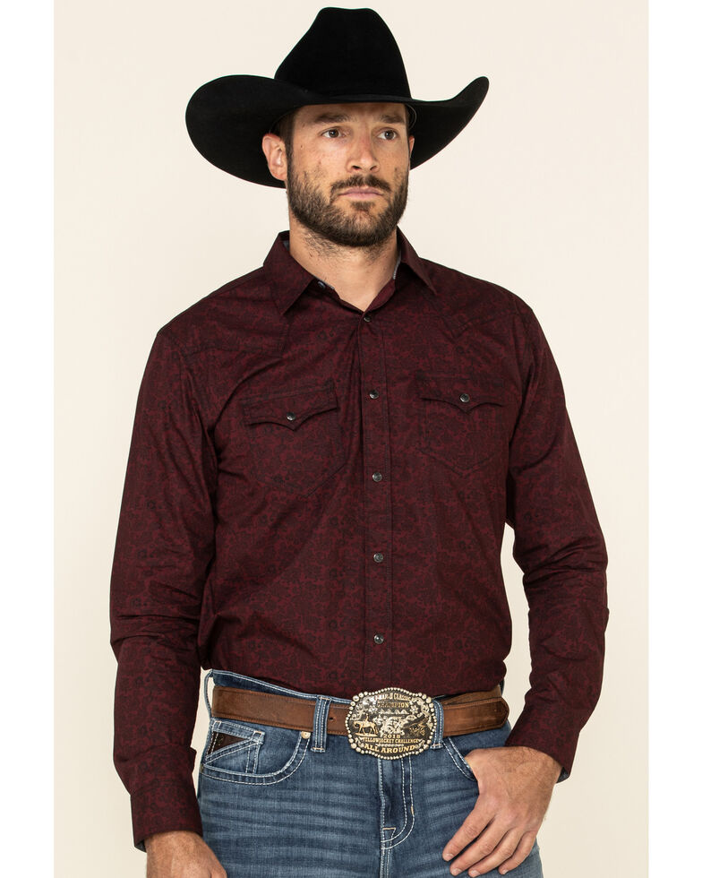 Cody James Men's Walnut Grove Floral Geo Print Long Sleeve Snap Western Shirt , Burgundy, hi-res