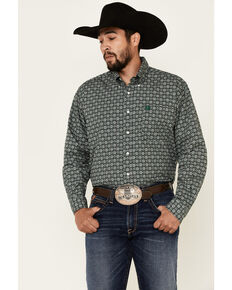 Cinch Men's Black Large Geo Print Long Sleeve Western Shirt , Black, hi-res