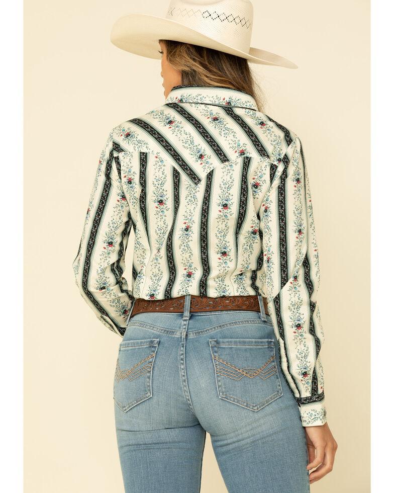 Wrangler Retro Women Ivory Floral Print Long Sleeve Western Shirt , Ivory, hi-res