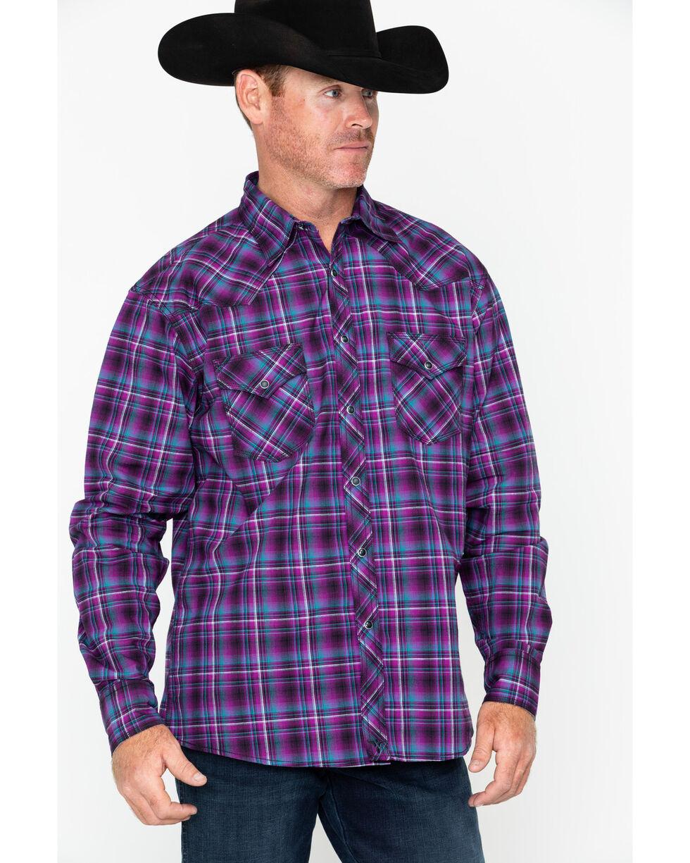 Wrangler 20X Men's Purple Plaid Long Sleeve Competition Advanced Shirt  , Black/purple, hi-res