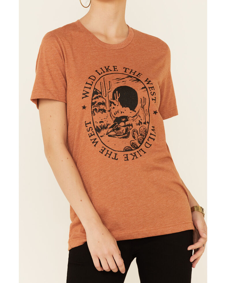 Ali Dee Women's Heather Autumn Wild Like The West Graphic Short Sleeve Tee , Rust Copper, hi-res