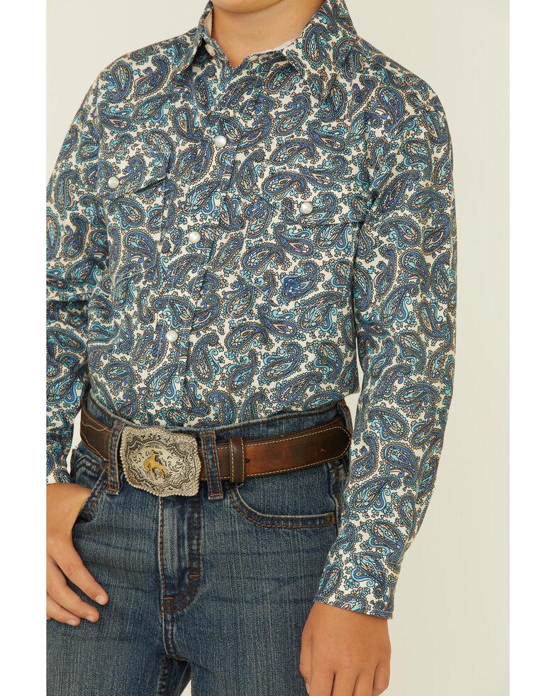 Roper Boys' Blue Plaza Paisley Print Long Sleeve Snap Western Shirt , Blue, hi-res