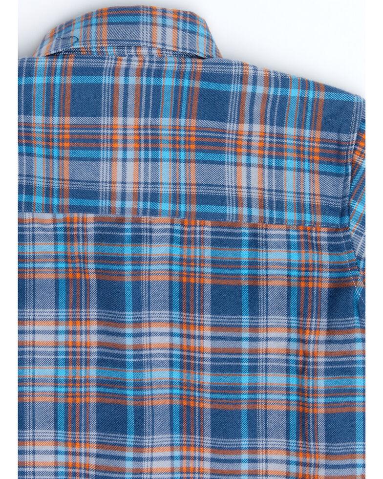 Cowboy Hardware Boys' Blue Plaid Long Sleeve Western Flannel Shirt , Blue, hi-res