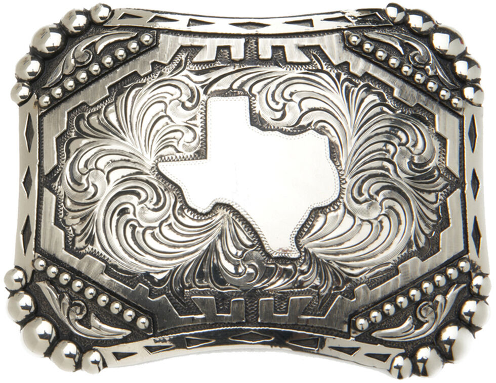 """AndWest Vintage """"Silverton"""" State of Texas Belt Buckle, Silver, hi-res"""
