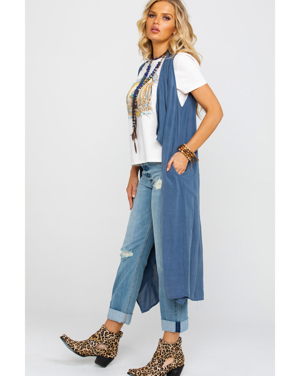 Rock & Roll Cowgirl Women's Cascading Duster Vest, Navy, hi-res
