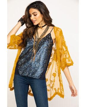 Eyeshadow Women's Mustard Lace Scallop Hem Kimono, Dark Yellow, hi-res