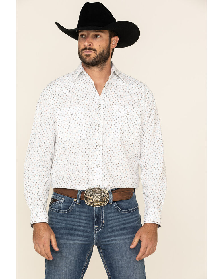 Rough Stock By Panhandle Men's Picacho Southwest Geo Print Long Sleeve Western Shirt , White, hi-res